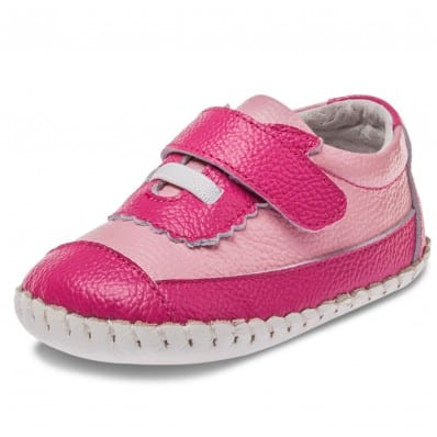 Little Blue Lamb - Baby girls first steps soft leather shoes | Pink and fushia sneakers