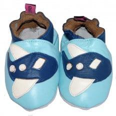 Chaussons bébé cuir souple | Avion bleu