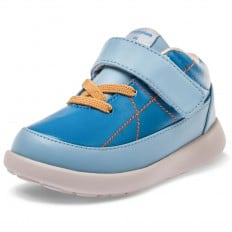 Little Blue Lamb - Chaussures semelle souple OG | Baskets bleu lacets orange