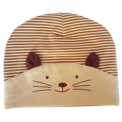 Bonnet bébé petit chat - taille unique | Beige et marron