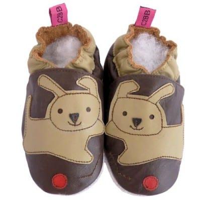 Chaussons cuir bébé souple | Chien marron point rouge