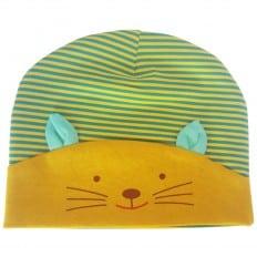 Bonnet de bebe petit chat - taille unique | Vert jaune