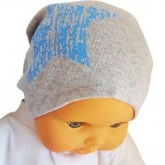 Bonnet bébé - taille unique | Gris étoile bleue