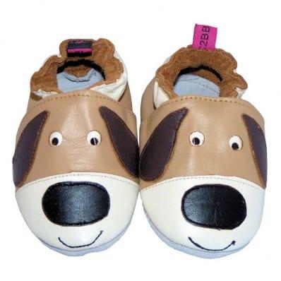 Krabbelschuhe Babyschuhe geschmeidiges Leder - Junge   Hund Marone