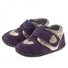Little Blue Lamb - Baby girls first steps soft leather shoes   Purple with silver heart