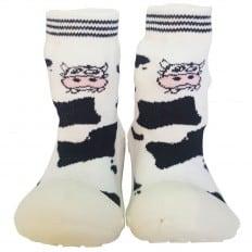 Chaussons-chaussettes enfant antidérapants semelle souple | Vache