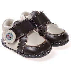CAROCH - Baby boys first steps soft leather shoes | Grey and brown filled sneakers