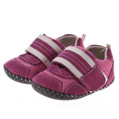 Little Blue Lamb - Chaussures premiers pas cuir souple | Baskets rose velcro blanc