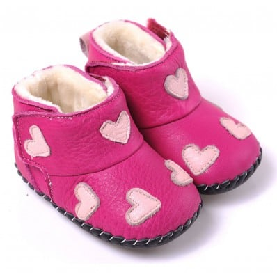 CAROCH - Baby girls first steps soft leather shoes | Pink with hearts bootees