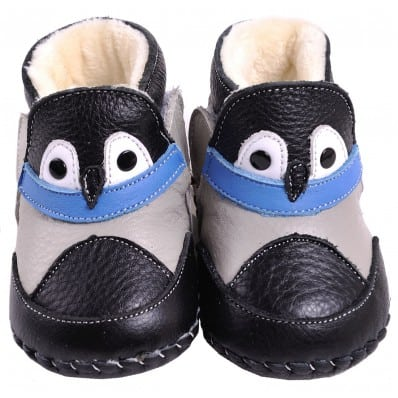 CAROCH - Baby boys first steps soft leather shoes | Black filled bootees