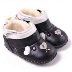 CAROCH - Krabbelschuhe Babyschuhe Leder - Mädchen | Schwarz gefüllte stiefel Mäuschen