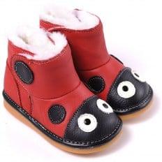 CAROCH - Krabbelschuhe Babyschuhe squeaky Leder - Mädchen | Roter Marienkäfer Stiefel