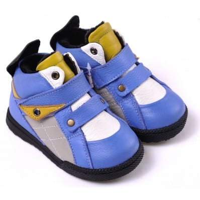 CAROCH - Soft sole boys Toddler kids baby shoes | Blue and yellow filled booties