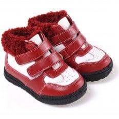 CAROCH - Zapatos de suela de goma blanda niñas | Montantes forradas rojo y blancas