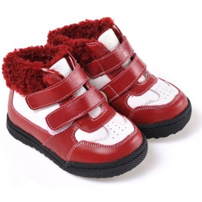 CAROCH - Soft sole girls kids baby shoes | Red and white filled booties