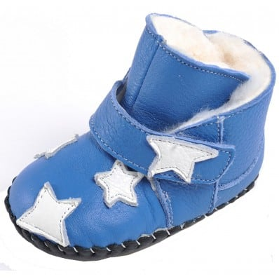CAROCH - Zapatos de bebe primeros pasos de cuero niñas   Montantes azul forradas estrella a blanca