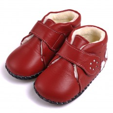 CAROCH - Chaussures premiers pas cuir souple | Montantes fourrées rouges 3 coeurs