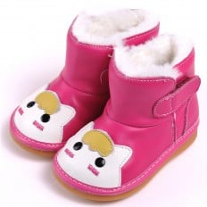 CAROCH - Zapatos de cuero chirriantes - squeaky shoes niñas | Botas rosa pequeño gato