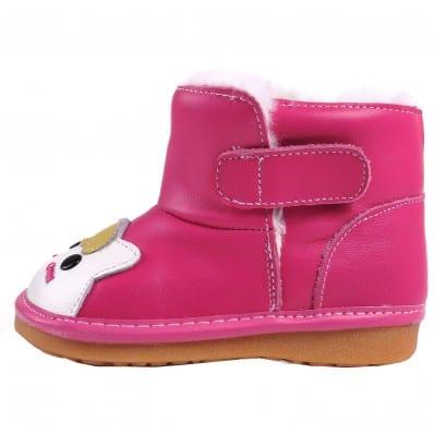 CAROCH - Zapatos de cuero chirriantes - squeaky shoes niñas   Botas rosa pequeño gato