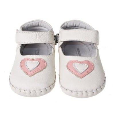 Little Blue Lamb - Krabbelschuhe Babyschuhe Leder - Mädchen   Weißes rosa Herz Zeremonie