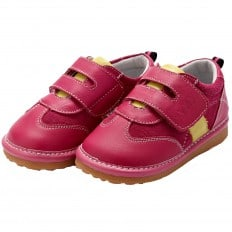 YXY - Squeaky Leather Toddler Girls Shoes | Yellow pink sneakers