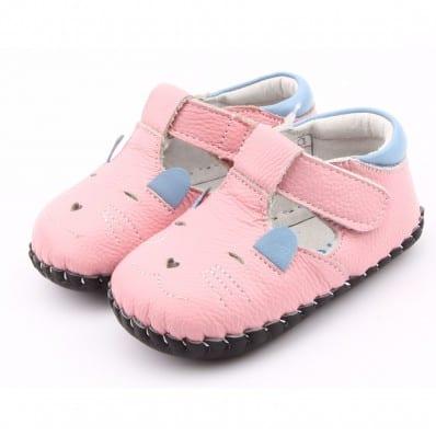 FREYCOO - Zapatos de bebe primeros pasos de cuero niñas   Pequeño ratón de color rosa
