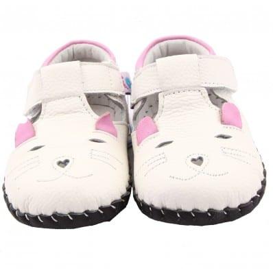 FREYCOO - Chaussures premiers pas cuir souple | Babies blanche petite souris