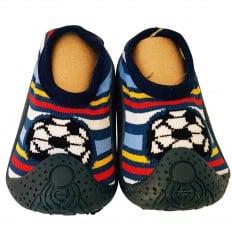 Hausschuhe - Socken Baby Kind geschmeidige Schuhsohle Junge | Fußball gestreift