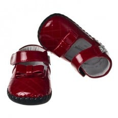 Little Blue Lamb - Baby girls first steps soft leather shoes | Red butterfly ceremony