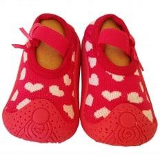 Chaussons-chaussettes enfant antidérapants semelle souple | Fushia coeurs blanc