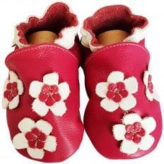 Zapitillas de bebe de cuero suave niñas antideslizante | Hermosa flor rosa