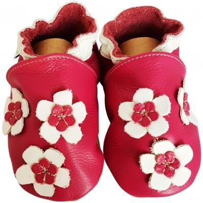 Krabbelschuhe Babyschuhe geschmeidiges Leder - Mädchen | Hübsche Blume Rose