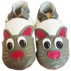 Krabbelschuhe Babyschuhe geschmeidiges Leder - Junge | Kaninchen
