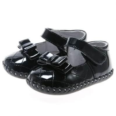 Little Blue Lamb - Zapatos de bebe primeros pasos de cuero niñas | Negro mariposa ceremonia