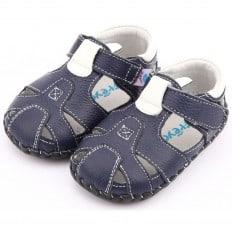 FREYCOO - Chaussures 1er pas cuir souple | Sandales bleu marine