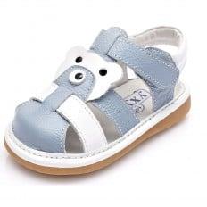 YXY - Scarpine bimba primi passi con fischietto | Blu e bianco chiuso sandali