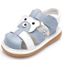 YXY - Zapatos de cuero chirriantes - squeaky shoes niños | Azul y blanco sandalias cerradas