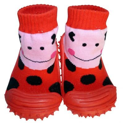 Baby girls Socks shoes with grippy rubber | Miss ladybird