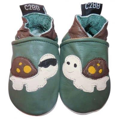 Krabbelschuhe Babyschuhe geschmeidiges Leder - Junge | Schildkröte