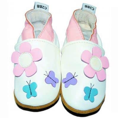 Scarpine Morbida Cuoio Bambini - ragazza | Fiore farfalla