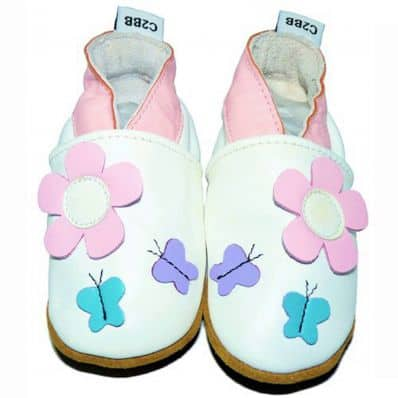 Soft leather baby shoes girls | Pink flower