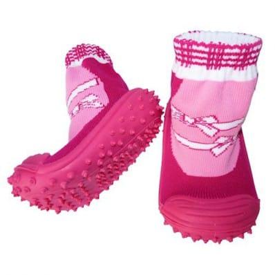 Scarpine calzini antiscivolo bambini - ragazza | Fushia nodo bianco