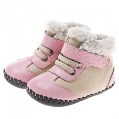 Little Blue Lamb - Baby girls first steps soft leather shoes | Pink and grey bootees
