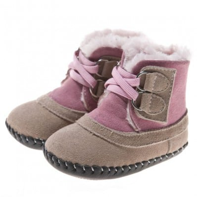 Little Blue Lamb - Baby girls first steps soft leather shoes | Beige and pink bootees