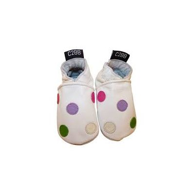 Soft leather baby shoes girls | White with dots