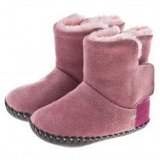 Little Blue Lamb - Baby girls first steps soft leather shoes | Pink bootees fushia heel