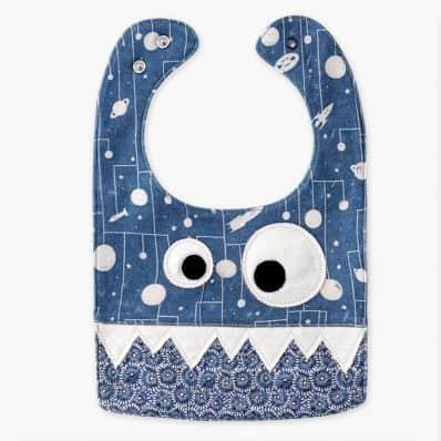 Bavoir bébé en coton - Monstre Bleu