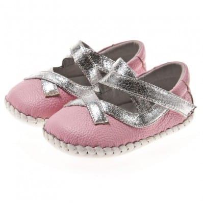 Little Blue Lamb - Chaussures premiers pas cuir souple | Babies roses lacets argentés