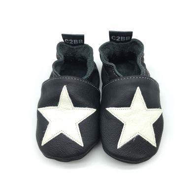 Chaussons en cuir souple STAR WHITE C2BB - chaussons, chaussures, chaussettes pour bébé