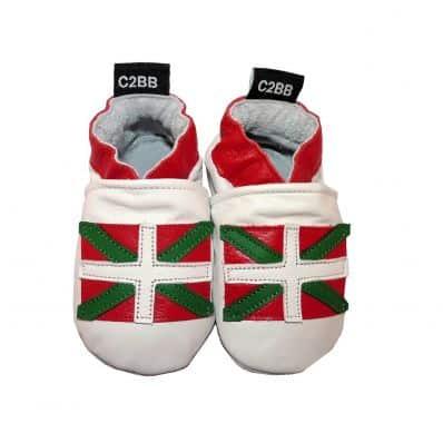Krabbelschuhe Babyschuhe geschmeidiges Leder - Junge oder mädchen   Baskische Fahne